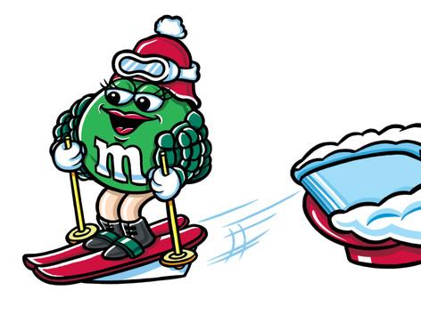 """""""Green M&M Christmas Skier"""""""