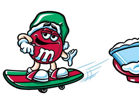 """Red M&M Christmas Skateboard"""