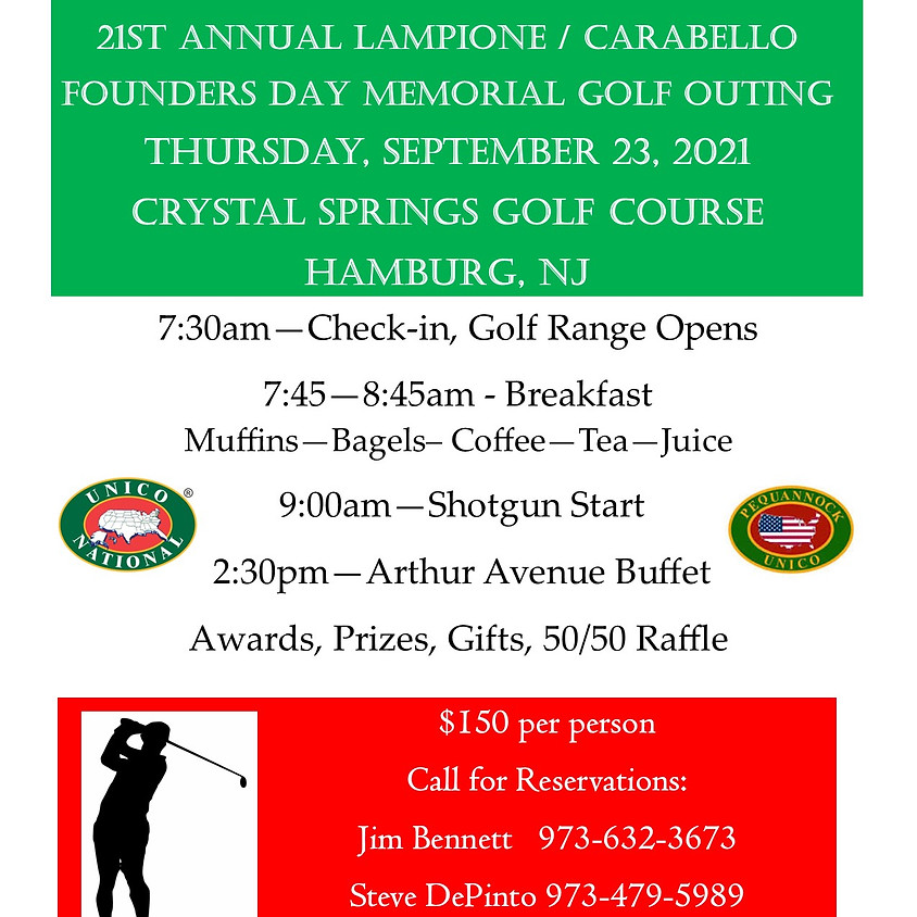 21st ANNUAL LAMPIONE / CARABELLO FOUNDERS DAY MEMORIAL GOLF OUTING