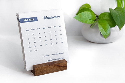 Seed Paper Calendar with solid wood base