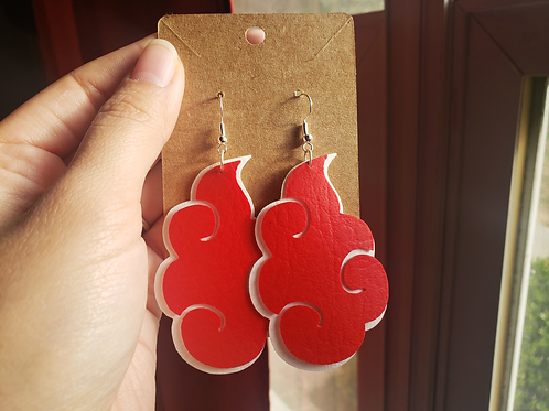 White and Red Faux Leather Layered Earrings