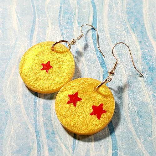 Resin Round Earrings with Red Star