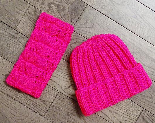 Headband + Beanie Set in Hot Pink