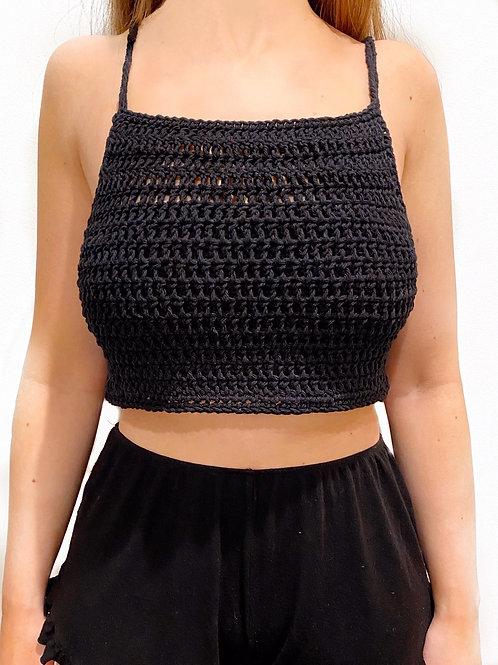 Elle Cropped Tank Top - Black