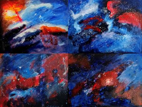"""""""Kosminen maisemamaalaus - Näin teet abstraktin akryylimaalauksen helposti ja nopeasti!"""""""