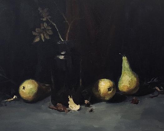 Kolme päärynää ja lasipurkki