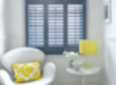 Plantation shutters blue study office