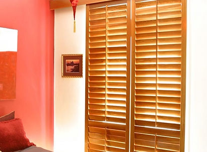 Cedar Shutters in bedroom