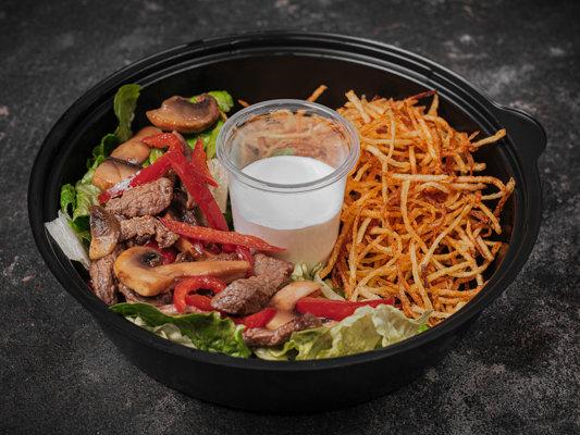 Салат из телятины с грибами и картофелем пай