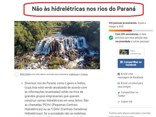 Abaixo-assinado diz não às hidrelétricas nos rios do Paraná. Ligeiro ganha até Instagram