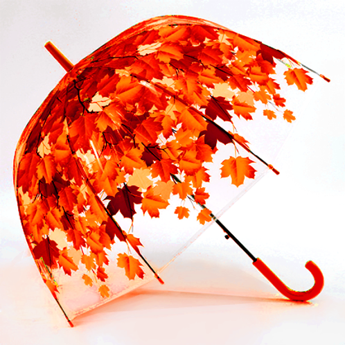 Летние зонты с листьями_красный