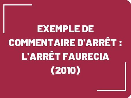 Exemple de commentaire d'arrêt : l'arrêt Faurecia (2010)