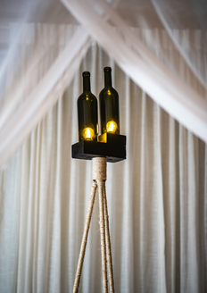 Recycled Iron & Bottle Standing Tripod Lamp