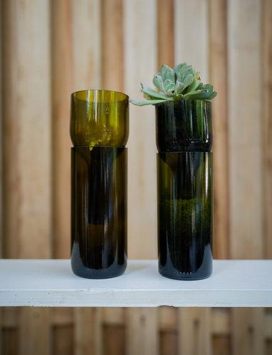 Wine bottle plant pot