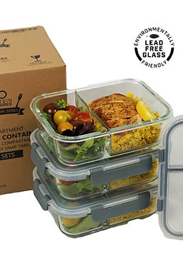 [3-Pack] 2 Compartment Bento Box Leak Proof Glass Container - Free Maria Emmeric