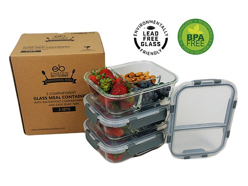 [3-Pack] 3 Compartment Bento Box Leak Proof Glass Container - Free Maria