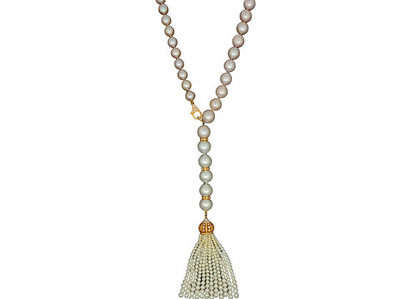 SOUTH SEA AND PINK PEARL OPERA NECKLACE WITH TASSLE