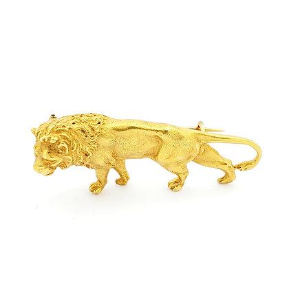 YELLOW GOLD LION PIN