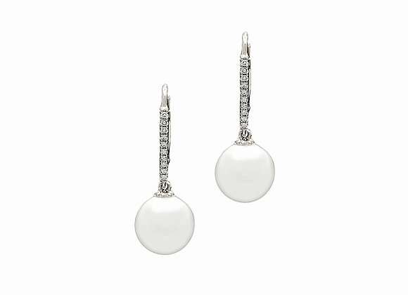 WHITE PEARL AND DIAMOND EARRINGS