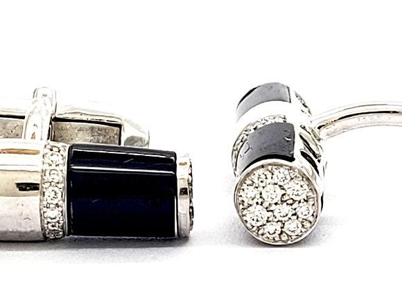 BARREL ONIX AND DIAMOND CUFFLINKS