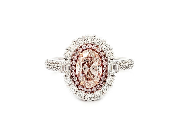 OVAL PINK AND WHITE DIAMOND RING