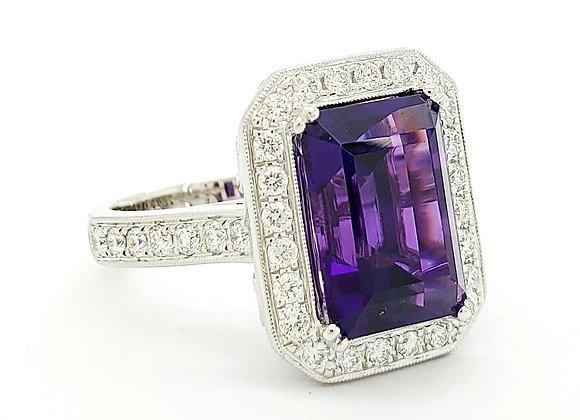 EMERALD CUT AMETHYST AND DIAMOND RING