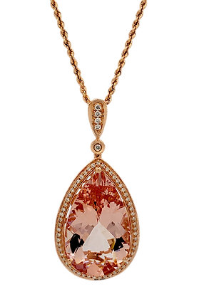 PEAR SHAPE MORGANITE AND DIAMOND PENDANT