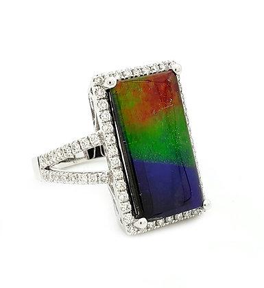 AMOLITE AND DIAMOND RING