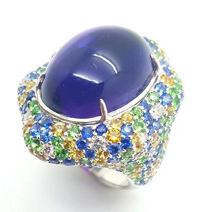 CABOCHON AMETHYST AND MULTI SAPPHIRE DIAMOND RING