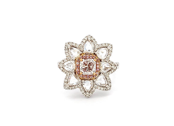 PINK AND WHITE DIAMOND FLOWER RING