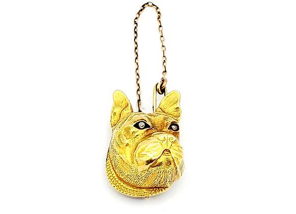 YELLOW GOLD BULLDOG PIN