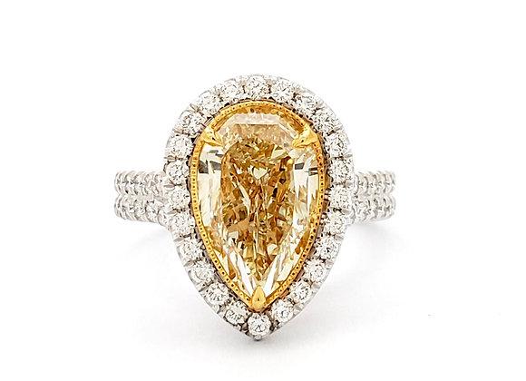 Pear Shape Cut Yellow Diamond Ring