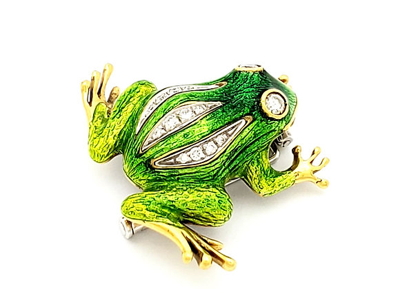 GREEN ENAMEL AND GOLD FROG PIN