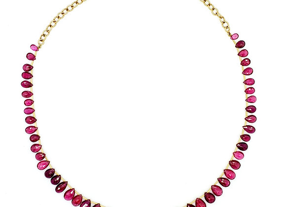 PINK TOURMALINE PEAR SHAPE NECKLACE