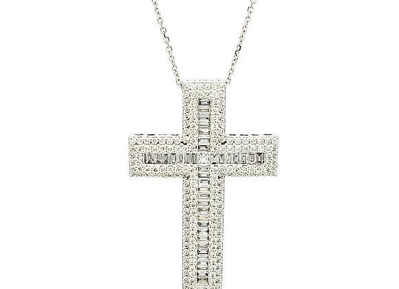 WHITE DIAMOND BAGUETTE CROSS PENDANT