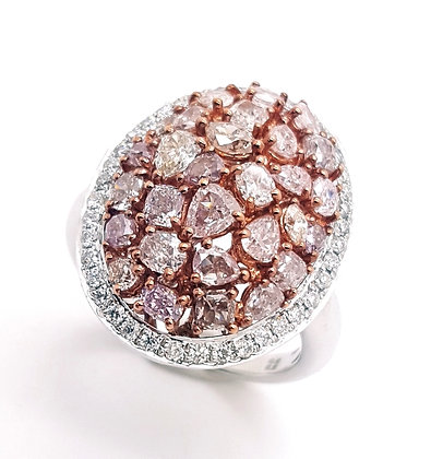 FANCY PINK AND WHITE DIAMOND RING
