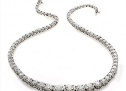ROUND WHITE DIAMOND TENNIS NECKLACE