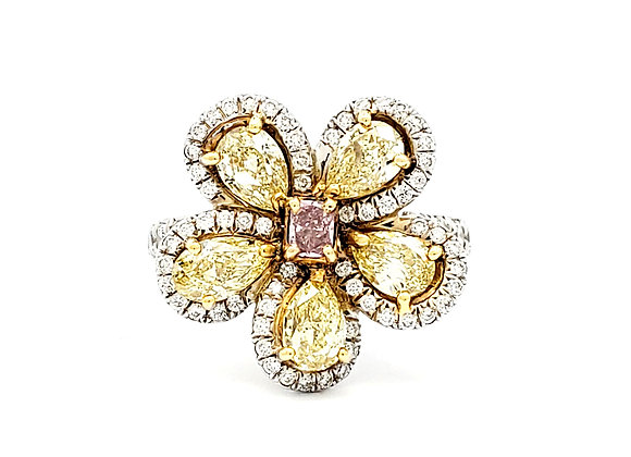 PINK AND YELLOW DIAMOND FLOWER RING