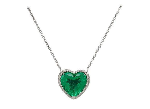 Heart Shape Colombian Emerald and Diamond Pendant