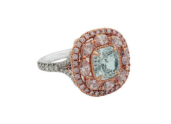 CUSHION CUT FANCY LIGHT BLUE AND PINK DIAMOND RING