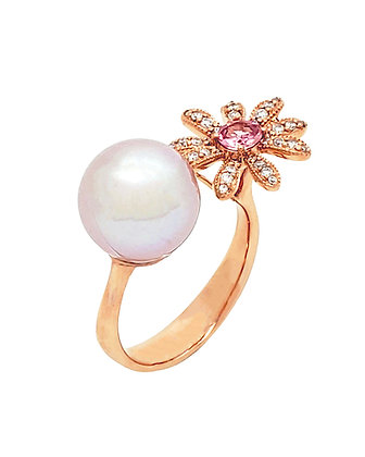 PINK SAPPHIRE AND FRESH WATER PEARL RING