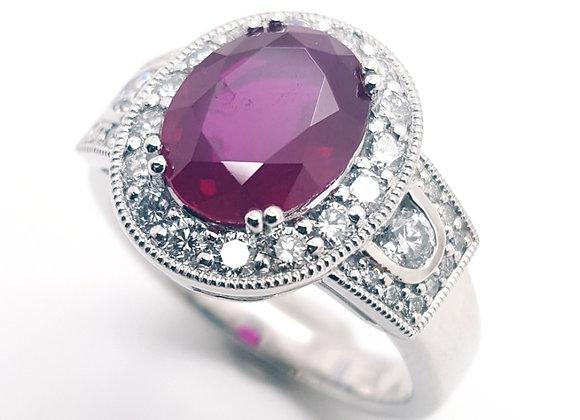 OVAL BURMESE RUBY AND DIAMOND RING
