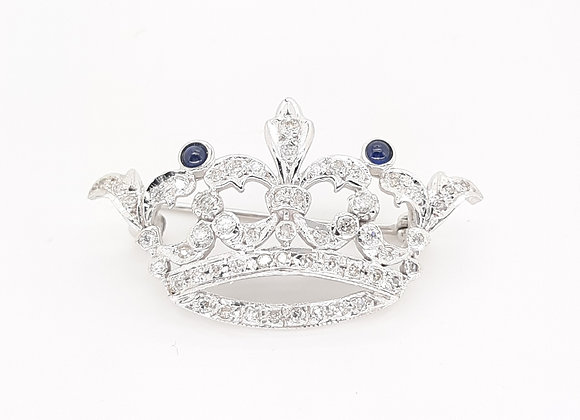 SAPPHIRE AND DIAMOND CROWN PIN