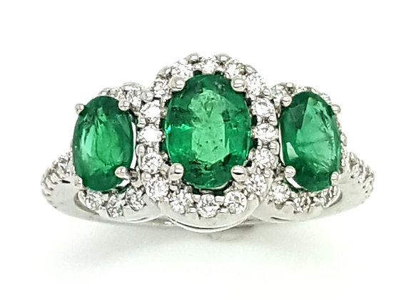 TRIPLE OVAL EMERALD AND DIAMOND RING