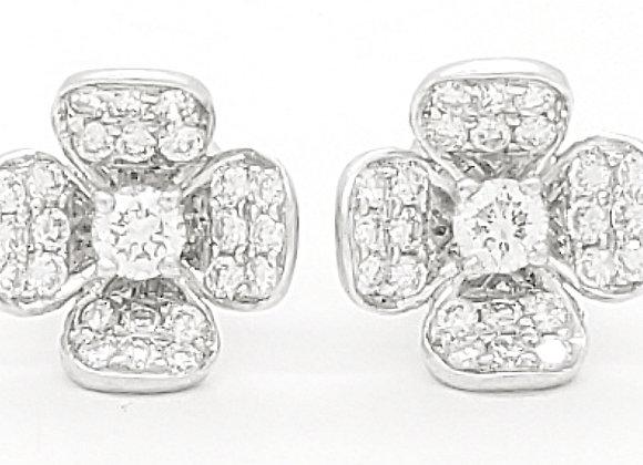 WHITE DIAMOND FLOWER EARRINGS