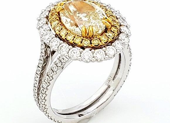 OVAL CUT YELLOW DIAMOND RING