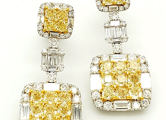 YELLOW DIAMOND MOSAIC EARRINGS