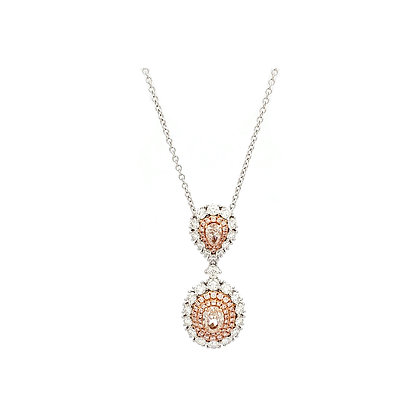 OVAL PINK AND WHITE DIAMOND PENDANT