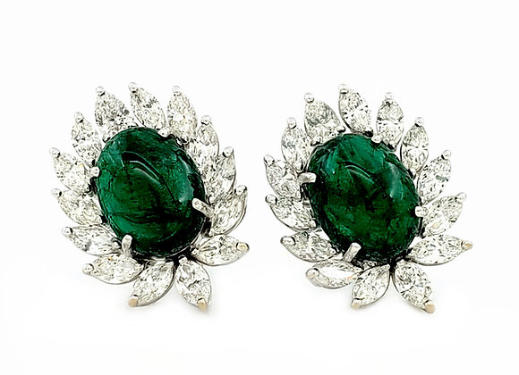 CABOCHON COLOMBIAN EMERALD AND DIAMOND EARRINGS
