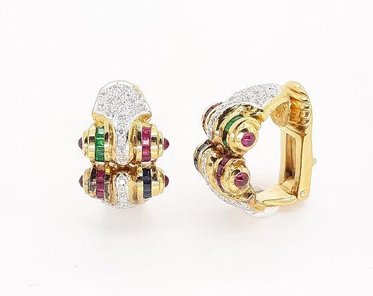 EMERALD RUBY SAPPHIRE AND DIAMOND EARRINGS